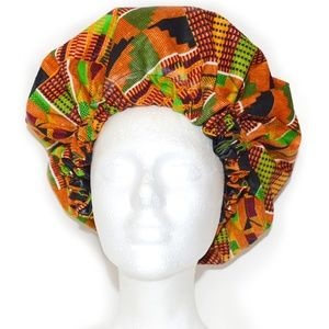 African Print Kente Ankara Hair Bonnet Hat